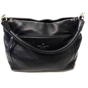 Black Soft Leather Top Zip Shoulder Handbag